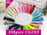 Wholesale hair clip alligator teeth for sale - Group buy 20pcs Completely Cover Grossgrain Ribbon Lined Double Prong Alligator Clip Teeth Hair Clips Metal Barrettes Diy Bows Hair Accessories Fj3201