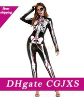 Wholesale police woman halloween costumes for sale - Group buy Halloween Women Apparel Human Skeleton Cosplay Bodysuits Horiible Dead Women Theme Costumes Female Party Stage Clothing