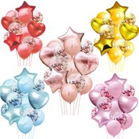 Wholesale white gold silver wedding decorations resale online - Rose Gold Confetti Balloon Love Heart Ballon Wedding Balloon Stand Birthday Party Decorations Adult Kids Event Party Air Globos