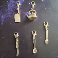 Wholesale teapot charms for sale - Group buy 5pcs Tableware Clip on Charm Zipper Pull Cleaver Keychain Gift Teapot Spoon Clip on Pendant Set Creative Charm