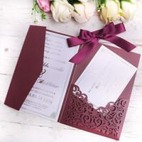 Wholesale bridal showers invitations resale online - PONATIA Laser Cut Invitations Card With Burgundy Ribbon For Wedding Bridal Shower Engagement Birthday Burgundy