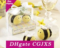 Wholesale bee set baby resale online - 2pcs Set Baby Shower Favor Honeybee Ceramic Salt And Pepper Shaker Mommy And Me Sweet As Can Bee Wedding Supplies Wen4478