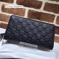 Wholesale alligator belt buckles resale online - qianqianli4 MWB Top Quality Celebrity Letter embossing Buckle Two fold wallet Real Cowhide Leather Black Long Purse Clutch