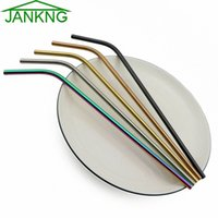 Wholesale jankng for sale - Group buy JANKNG Stainless Steel Drinking Straws Cleaner Brush Reusable Unfolded Bend Metal Straw Gold Black Kitchen Tools mr6o