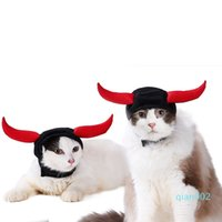Wholesale kitty cat hats for sale - Group buy Christmas Cat Cow Devil Pet Headdress Teddy Puppy Kitty Horn Deformation Hat Hood