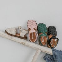 Wholesale closed toed sandals resale online - 2020 New Vintange Weave Solid Girls Sandals Closed Toe Sandals for Girl Kids Baby Flat Girls Sandals Summer Kids Shoes D01254