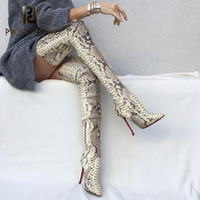 Wholesale skins boots resale online - 2020 New Arrive Snake Skin Women Long Boots Over The Knee High Thin Heels Boots Slip on Slim Elastic High Boots Party Sexy