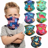 Wholesale kids dinosaur mask resale online - Kids Cartoon Half Scarf face Masks Dinosaur Unicorn Magic bandage Children Headband Hairwraps facemasks cycle Neck Ring Headwear D83102