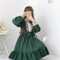 Wholesale cute casual dresses for winter for sale - Group buy HCMwm KWFls Winter students stitching flounced for dress Winter students cute stitching flounced dress for cute