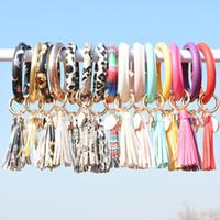 Women Tassel Bracelets PU Leather Wrap Key Ring Leopard Lily Print Keychain Keyring Wristband Sunflower Circle Bangle Chain Wristlet M2639
