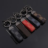 Wholesale flower leather keychains for sale - Group buy 2020 Red Blue Square Pattern Leather Keychain Luxury Old Flower Leather Circle Buckle Keychains Auto Car Waist Key Chain Keyhold