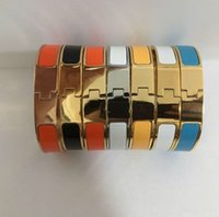 Wholesale gold plated enamel bangle for sale - Group buy Fashion Stainless Steel Bangle Women Men Enamel Bangles Jewelry Rose Gold Silver H Letter Bracelets Love Bangle with Original velvet bag