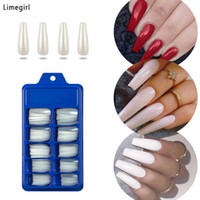 Wholesale nail design yellow for sale - Group buy 100pcs False Nails white Use Designs With Glue Press On Nails Coffin Ballerina Clear Full Cover Manicure Fake Nail Tips Limegirl