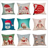 Wholesale lovely pillowcase for sale - Group buy Christmas Cartoon Pillowcase inch Santa Claus Pattern Lovely Pillow Cover Living Room Sofa Seat Decorative Cushion Covers VT1714