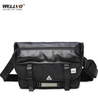mens cartables achat en gros de-Designer-Single Shoulder Bag Men Chest Bag Classic Leather Satchels Mens Simple Black Bicycle 2019 New Large Messenger XA182ZC