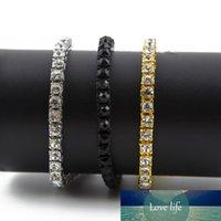 Iced Out Single Row Rhinestone Bracelet Men's Hip Hop Style Jewelry Clear CZ Diamond 7-9 Inch Bling Chain Bracelets