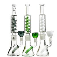Wholesale freezable coils resale online - New Arrival Inches Big Glass Bong Heady Oil Rig Diffused Downstem Dab Rigs Water Pipes freezable Glass Water Bongs Condenser Coil ILL01