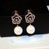 Wholesale beautiful diamond pendants resale online - Fashion designer super sparkling beautiful diamond classic camellia flower elegant pearl pendant stud earring for woman girls