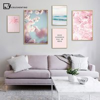 Wholesale cherry blossom wall art painting resale online - Cherry Blossom Flower Picture Scandinavian Poster Nordic Landscape Pink Ocean Print Wall Art Canvas Painting Living Room Decor