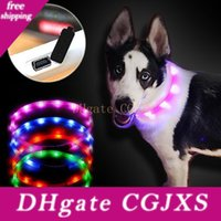 Wholesale led dog collar charge for sale - Group buy 70cm New Adjustable Usb Luminous Lighting Led Light Pet Collar Usb Charging Dog Collar Teddy