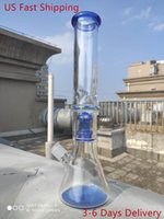 Wholesale blue glass filter for sale - Group buy 15 Inch CM Hookah Water Pipe Blue Mushroom Filter Bong Glass Bubbler Waterpipe US Shipping