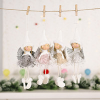 Wholesale Christmas Decorations Hanging Ornament Creative Fluffy Wing Girl Angel Christmas Tree Hanging Pendant Decorations BWF663