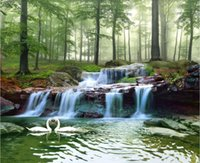 Wholesale live tv streams for sale - Group buy 3d photo wallpaper custom mural Forest stream waterfall woods landscape painting landscape living room TV background wallpaper for walls d