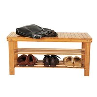 "Bamboo Wood 3 Tier Shoe Rack Storage Bench, Premium Shoe Organizer for Entry Bench Bamboo Shoe Rack Bench 35.43 x 11.02 x 17.72"""