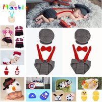 Wholesale baby diaper crochet photo for sale - Group buy Crochet Baby Hat Diaper Set Crochet Boy Gentleman Set Baby Photo Photography Props hat Boys Pilot Clothing MZS
