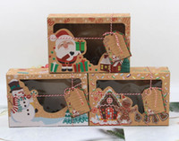 Wholesale 24 New Kraft Paper Box Kraft Paper Large Christmas Candy Box PVC Window Biscuit Gingerbread Christmas Decorations