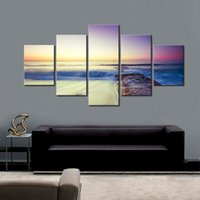 Wholesale large seascape paintings resale online - 5 Set Seascape Canvas Art Painting Beach Sunset with Colorful Clouds HD Print Modern Large Landscape Artwork for Home Decor