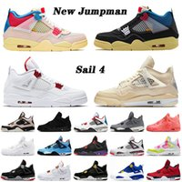 ingrosso scarpe da ginnastica-off white nike air jordan retro 4 4s STOCK 4s X 2020 Top rasoJordan Sail Jumpman scarpe da basket Red Metallic Black Cat Hot Punch Raptors Scarpe da ginnastica Ordina Sneakers