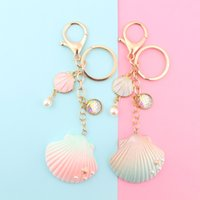 Wholesale illusions paintings for sale - Group buy Pendants marine series pendants illusion pearl shells oil painting shells keychain backpack pendant accessories