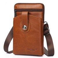 Wholesale men wallets fanny packs for sale - Group buy Fashion Men Genuine Leather Belt Hook Fanny Waist Pack Trend Travel High Quality Brand Crossbody Bags Phone Case Wallet