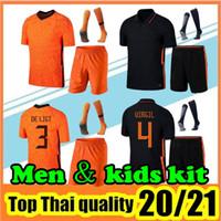 Wholesale yellow football sets resale online - 2020 IHATTAREN soccer jerseys DE JONG WIJNALDUM Holland football set shirt VIRGIL STROOTMAN MEMPHIS Men Kids kit uniforms