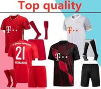 Wholesale red blue football socks resale online - 2020 robben adult soccer Jersey full kits Bayern Munich James Lewandowski RIBERY ROBBEN football shirt kits with socks