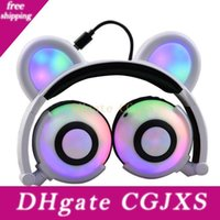 Wholesale mp3 bear resale online - Bear Ear Headphones Flashing Glowing Cosplay Foldable Over Ear Gaming Wireless Music Earphone For Cell Phone Ipad Ipod