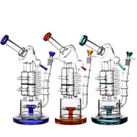 Wholesale Huge glass recycler bong oil rig heady pipe hitman water pipes bubbler coil tube honeycomb bongs birdcage perc quartz banger dab rigs wax