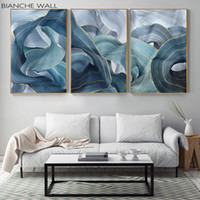 Wholesale wall art painting canvas chinese for sale - Group buy Blue Green Gold Lines Wavy Geometric Poster New Chinese Canvas Print Painting Contemporary Wall Art Home Decoration Picture