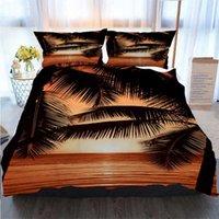 Wholesale 3d bedding set beaches resale online - 3D Printed Merry Christmas Bedding Set Black Palm Tree Beach Sunset Black Yellow Polyester Duvet Cover Luxury Bedding Sets