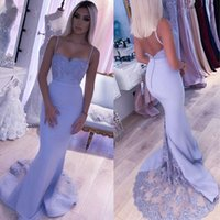 Spaghetti Straps Bridesmaid Dresses Button Backless Mermaid Lilac Lace 2020 Beaded Appliques Wedding Party Gown Robe demoiselle