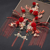 Wholesale phoenix hair jewelry resale online - FORSEVEN Red Fur Ball Crystal Pearls Tassel Phoenix Coronet Hairpins Clips Hair Fork Sticks Earrings Chinese Wedding Jewelry Set
