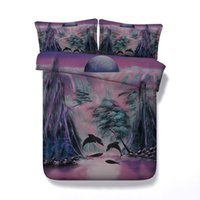 Wholesale 3d bedding set dolphins for sale - Group buy 3D Galaxy Dolphin print Duvet Cover with pillowcase Bedding Set Microfiber Quilt Cover Zipper Closure