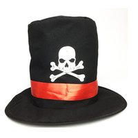 Wholesale pirate hats resale online - Skull Hat Black Printed The Pirates Hats Fashion Free Size Costume Accessories Halloween