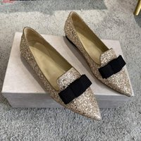Wholesale range shoes resale online - Pink and silver flats with pointed toe and versatile bow sequins for women shoes sexy in the fall range