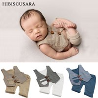 Wholesale boys waistcoat outfit for sale - Group buy Newborn Baby Photography Clothing Plaid Waistcoat Pants Set Boys Photo Costumes Outfit Infant Gentleman Clothes Y200803