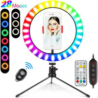 LED Colorful Dimmable Ring Light with Tripod USB Selfie Lights Lamp Big RGB Ringlight with Stand TikTok Youtube Live Broadcast 10 inch