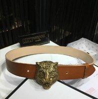 Wholesale vintage bronze belt buckle resale online - Vintage bronze tiger head buckle brown men s casual belt Authentic Official Mens Belts For Men Women Belt With Box