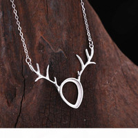 Wholesale pendant necklace mountings for sale - Group buy 925 Sterling Silver Women Pendant Necklace x13mm Pear Cabochon Semi Mount Pendant Antlers Shape Setting