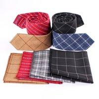 Wholesale handkerchief necktie for sale - Group buy Linbaiway Casual Necktie Ties Set for Men s Cotton Plaid Pocket Towel for Wedding Party Handkerchief Necktie Set Custom Logo